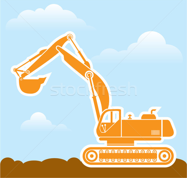 Excavator orange vector eps clip-art image Stock photo © vectorworks51