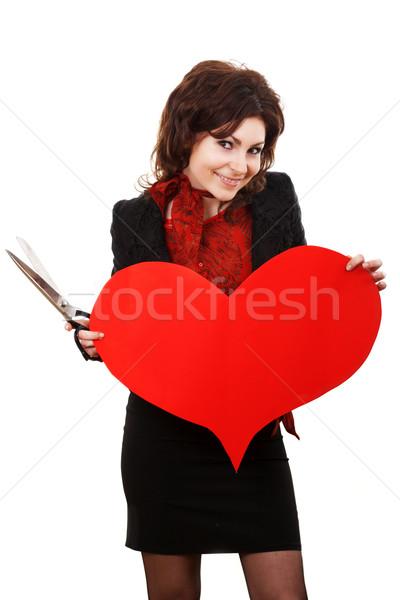 Kalp kadın sinsi bakmak kırmızı kâğıt Stok fotoğraf © velkol