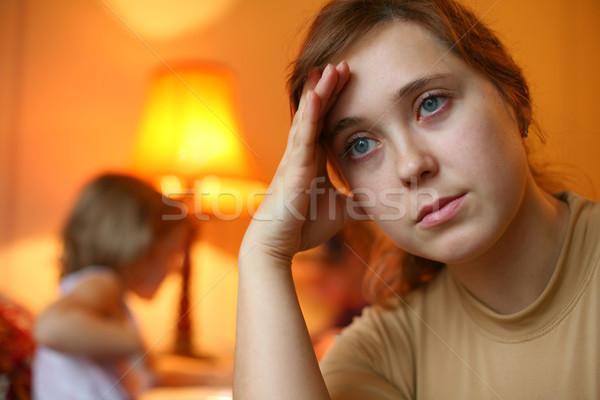 Kimerültség kép fáradt nő gyermek szem Stock fotó © velkol