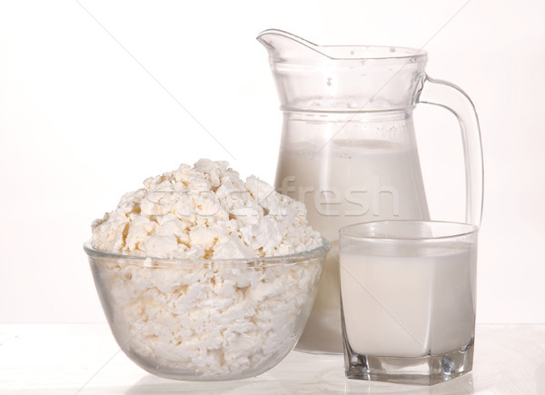 ミルク 皿 コテージチーズ ガラス 白 表 ストックフォト © velkol