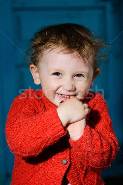 Smiling boy  with dishevelled hair Stock photo © velkol