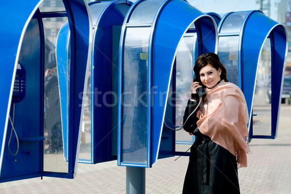 Speaking on telephone Stock photo © velkol