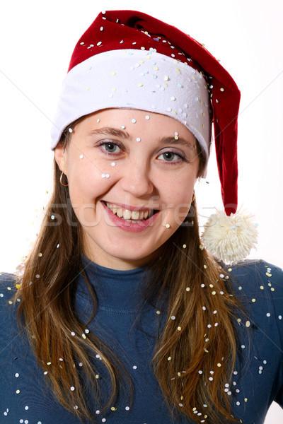 śniegu obraz nice dziewczyna czerwony cap Zdjęcia stock © velkol
