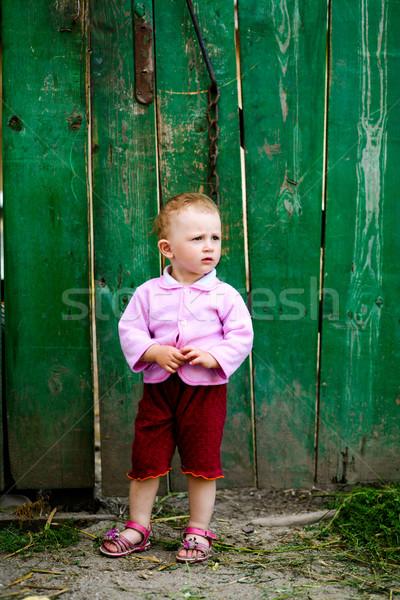 Stock photo: Baby-girl near green fence