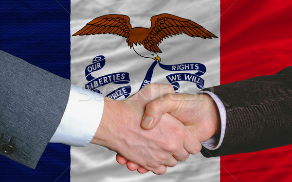 американский флаг Айова два бизнесменов рукопожатием Сток-фото © vepar5