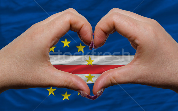 over flag of cape verde showed heart and love gesture made by ha Stock photo © vepar5