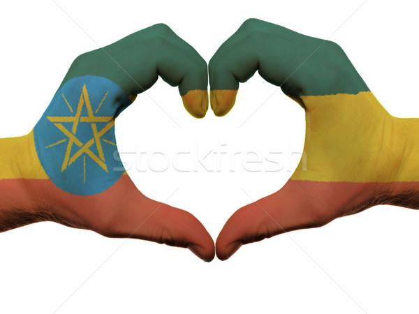 сердце любви жест Эфиопия флаг цветами Сток-фото © vepar5
