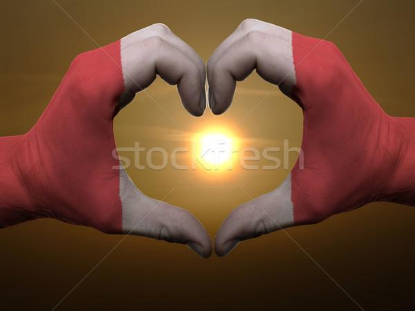 Kalp sevmek jest eller renkli Peru Stok fotoğraf © vepar5