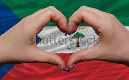 Szív szeretet kézmozdulat kezek zászló mutat Stock fotó © vepar5