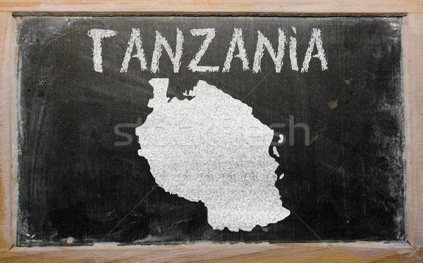 Schets kaart Tanzania Blackboard tekening Stockfoto © vepar5