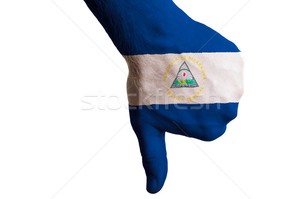 nicaragua national flag thumbs down gesture for failure made wit Stock photo © vepar5