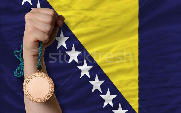 Bronze medal for sport and  national flag of bosnia herzegovina  Stock photo © vepar5