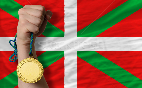 Gold medal for sport and  national flag of  of basque    Stock photo © vepar5