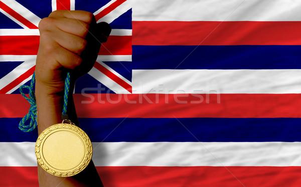 Medalha de ouro esportes bandeira americano Havaí vencedor Foto stock © vepar5