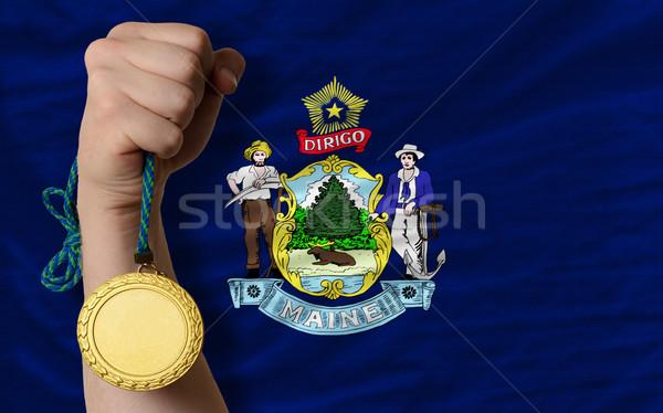 Aranyérem sport zászló amerikai Maine nyertes Stock fotó © vepar5