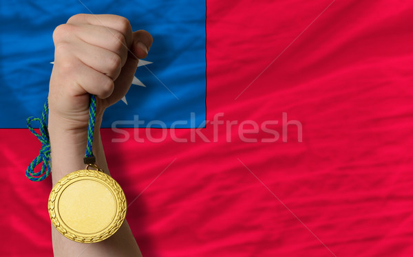 Gold medal for sport and  national flag of taiwan    Stock photo © vepar5
