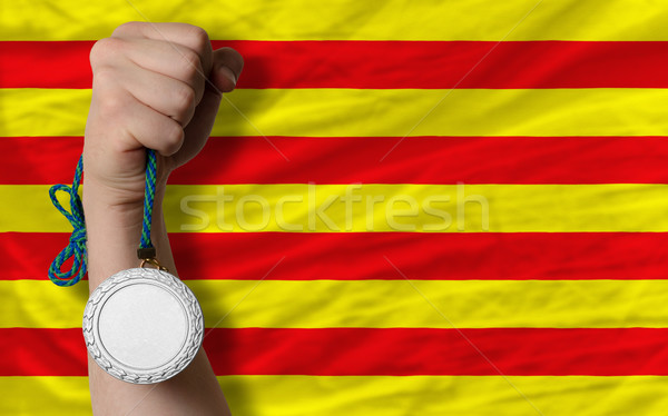 Silver medal for sport and  national flag of  of catalonia    Stock photo © vepar5
