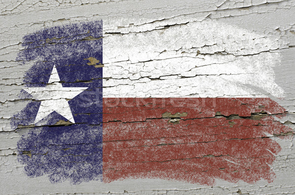 Stock photo: flag of US state of texas on grunge wooden texture precise paint