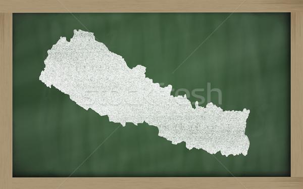 Skicc térkép Nepál iskolatábla rajz rajzolt Stock fotó © vepar5