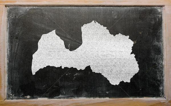 Harita Letonya tahta çizim kara tahta Stok fotoğraf © vepar5