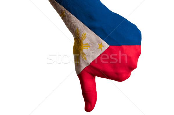 Filipinler bayrak başparmak aşağı jest başarısızlık Stok fotoğraf © vepar5