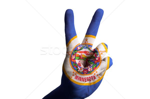 Minnesota zászló kettő ujj felfelé kézmozdulat Stock fotó © vepar5