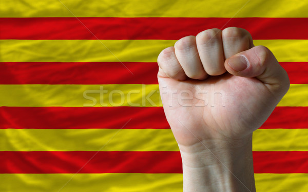 Hard fist in front of catalonia flag symbolizing power Stock photo © vepar5