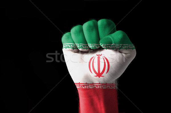 Fist painted in colors of iran flag Stock photo © vepar5