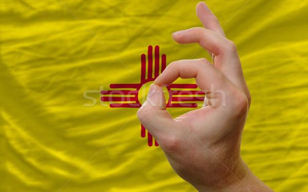Gebaar New Mexico vlag man tonen Stockfoto © vepar5