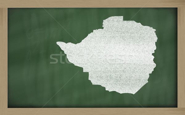 outline map of zimbabwe on blackboard  Stock photo © vepar5