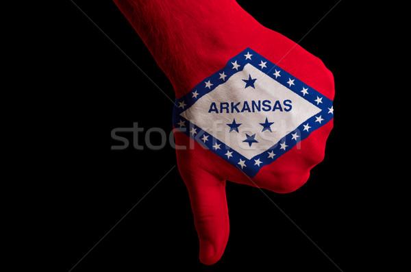 Arkansas zászló hüvelykujjak lefelé kézmozdulat kudarc Stock fotó © vepar5