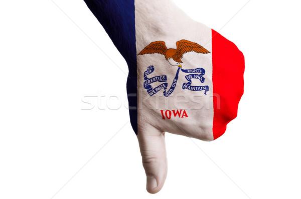 Айова флаг вниз жест провал Сток-фото © vepar5