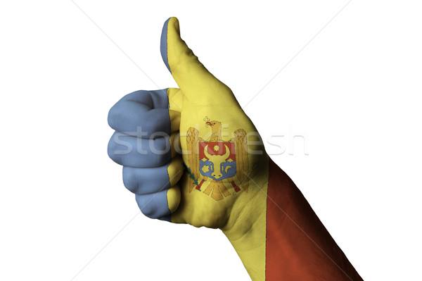 Moldova bandiera pollice up gesto eccellenza Foto d'archivio © vepar5