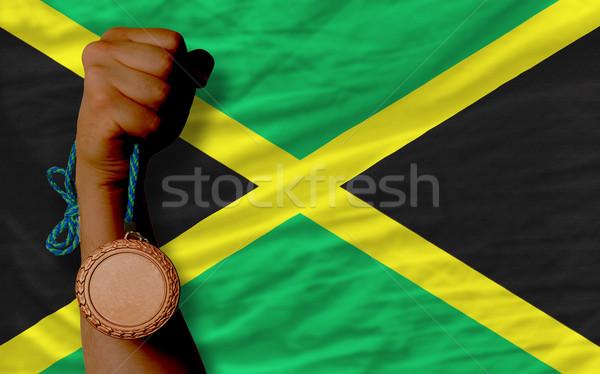 Bronz érem sport zászló Jamaica tart Stock fotó © vepar5