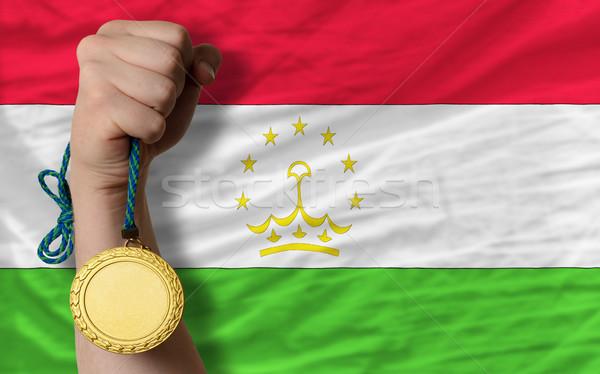 Aranyérem sport zászló Tádzsikisztán nyertes tart Stock fotó © vepar5