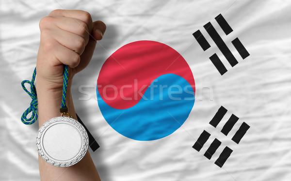 Gümüş madalya spor bayrak Güney Kore Stok fotoğraf © vepar5