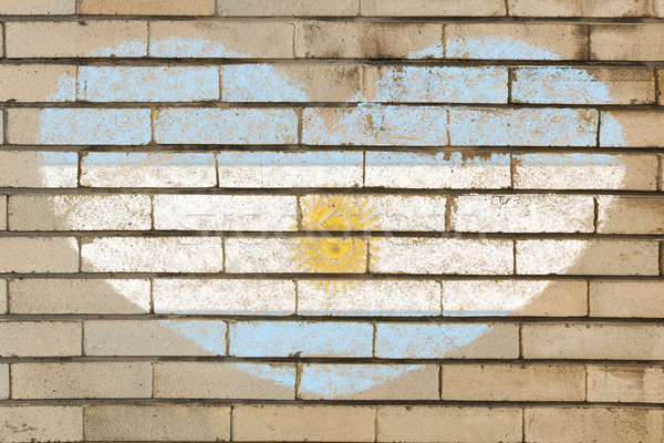 heart shape flag of Argentina on brick wall Stock photo © vepar5