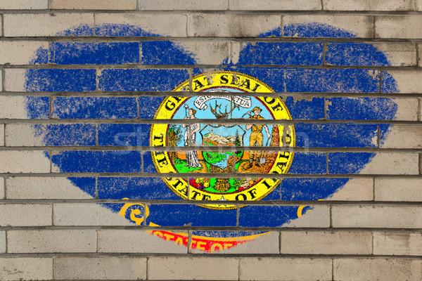 Forma de coração bandeira Idaho parede de tijolos coração Foto stock © vepar5