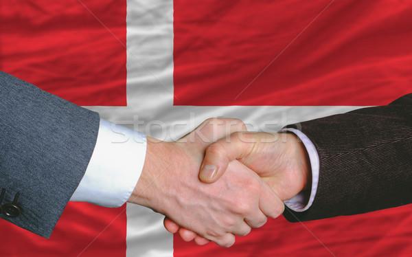 Zakenlieden handdruk goede deal Denemarken vlag Stockfoto © vepar5