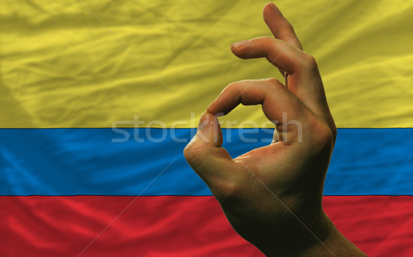 Gesto Colômbia bandeira homem Foto stock © vepar5