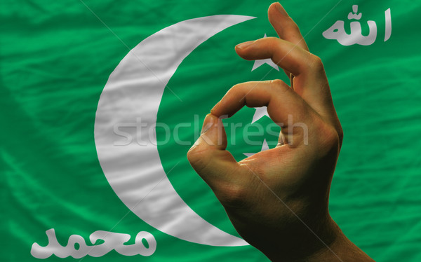 ok gesture in front of comoros national flag Stock photo © vepar5