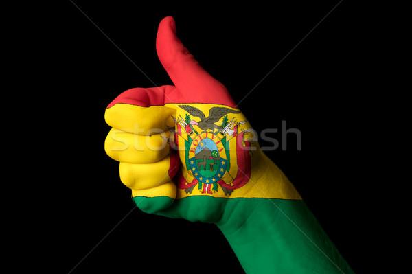 Bolívia bandeira polegar para cima gesto excelência Foto stock © vepar5