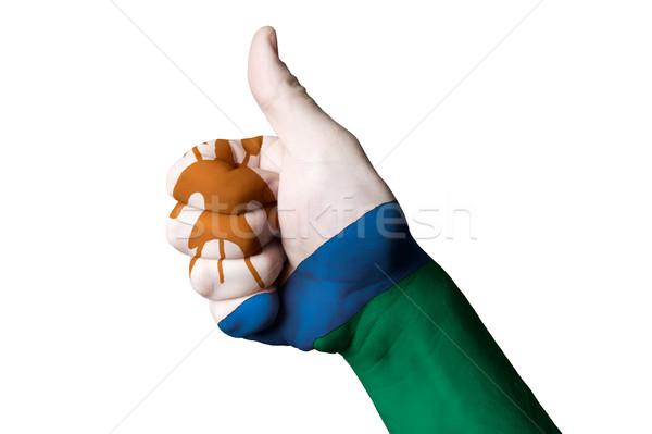 Lesoto bandeira polegar para cima gesto excelência Foto stock © vepar5