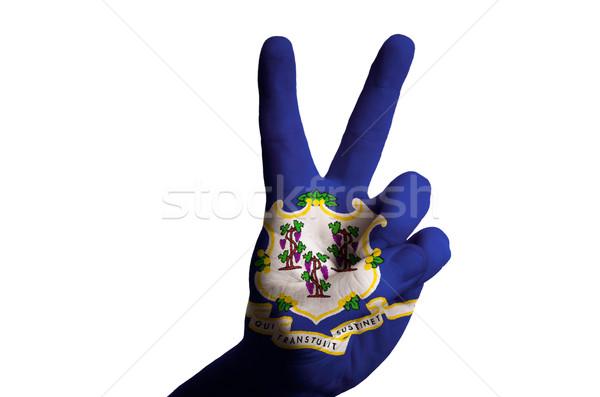 Connecticut bandeira dois dedo para cima gesto Foto stock © vepar5