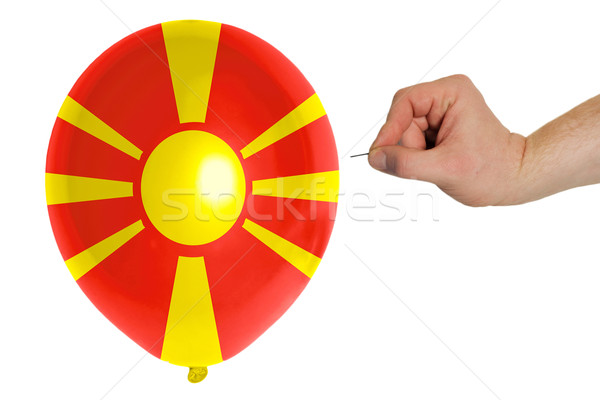 Bursting balloon colored in  national flag of macedonia    Stock photo © vepar5