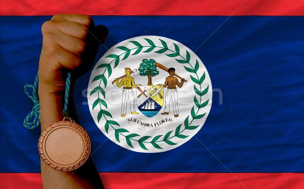 Bronz érem sport zászló Belize tart Stock fotó © vepar5