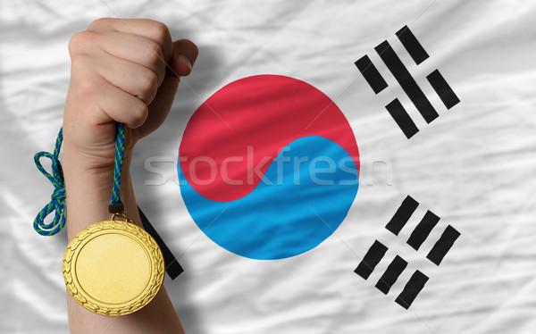 Gold medal for sport and  national flag of south korea    Stock photo © vepar5