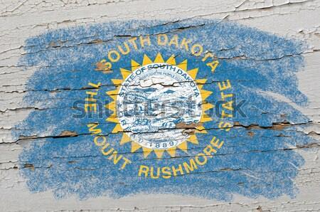 Zászló Dél-Dakota iskolatábla festett amerikai szín Stock fotó © vepar5