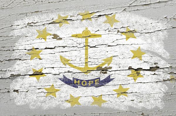 Vlag Rhode Island grunge houten textuur amerikaanse Stockfoto © vepar5