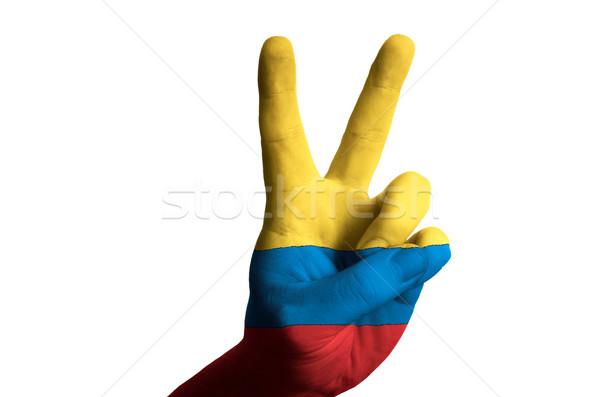 Colombia zászló kettő ujj felfelé kézmozdulat Stock fotó © vepar5